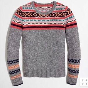 J. Crew Nordic Fair Isle Lambswool Gray Sweater